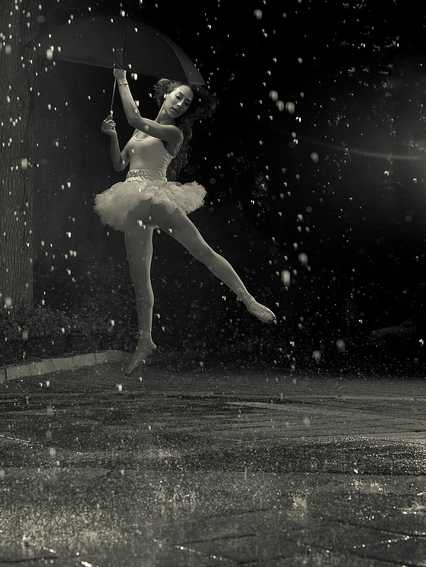 ballerina dancing in the rain